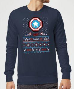 Pull de Noël Homme Marvel Avengers Captain America Pixel Art - Bleu Marine - S - Navy chez Zavvi FR image 5059478412629