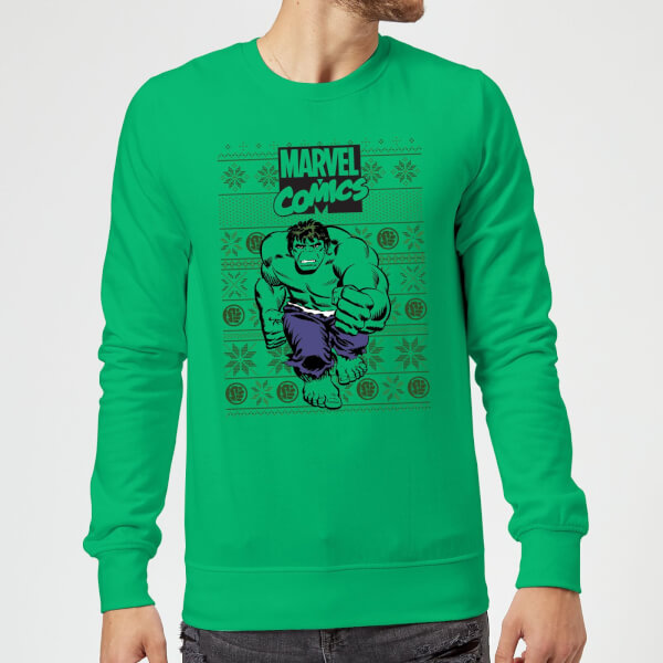 Pull de Noël Homme Marvel Avengers Hulk - Vert - L - Kelly Green chez Zavvi FR image 5059478413503