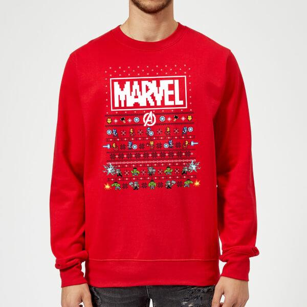 Pull de Noël Homme Marvel Avengers Pixel Art - Rouge - XL - Rouge chez Zavvi FR image 5059478413695