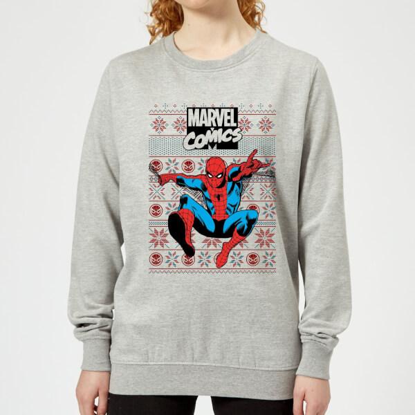Pull de Noël Femme Marvel Avengers Classic Spider-Man - Gris - XS - Gris chez Zavvi FR image 5059478415194