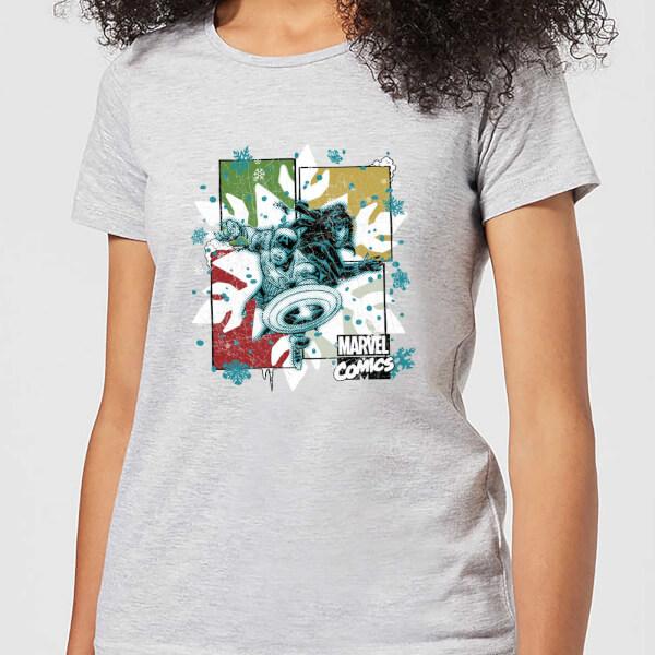 Marvel Black Widow Captain America Women's Christmas T-Shirt - Grey - XXL - Gris chez Zavvi FR image 5059478616041