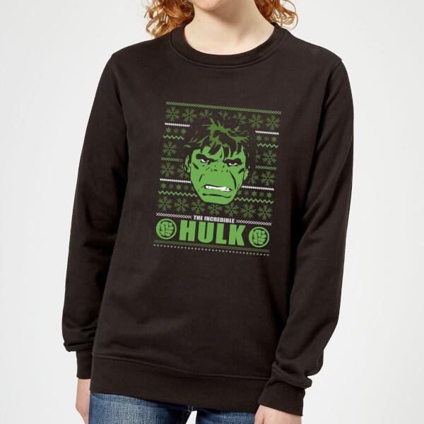 Marvel Hulk Face Women's Christmas Sweatshirt - Black - 5XL - Noir chez Zavvi FR image 5059478628341