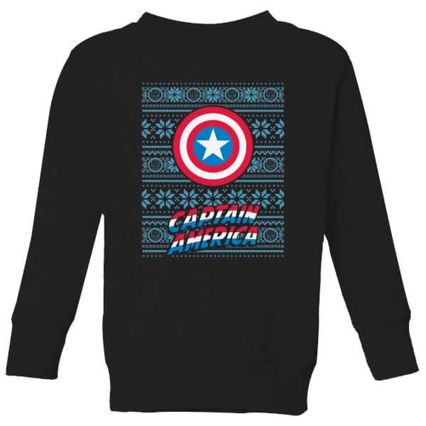 Marvel Captain America Kids' Christmas Sweatshirt - Black - 11-12 ans - Noir chez Zavvi FR image 5059478644594