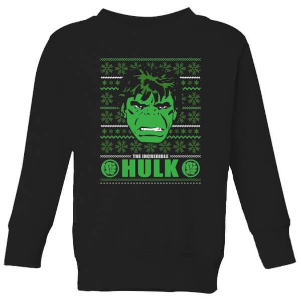 Marvel Hulk Face Kids' Christmas Sweatshirt - Black - 11-12 ans - Noir chez Zavvi FR image 5059478647090