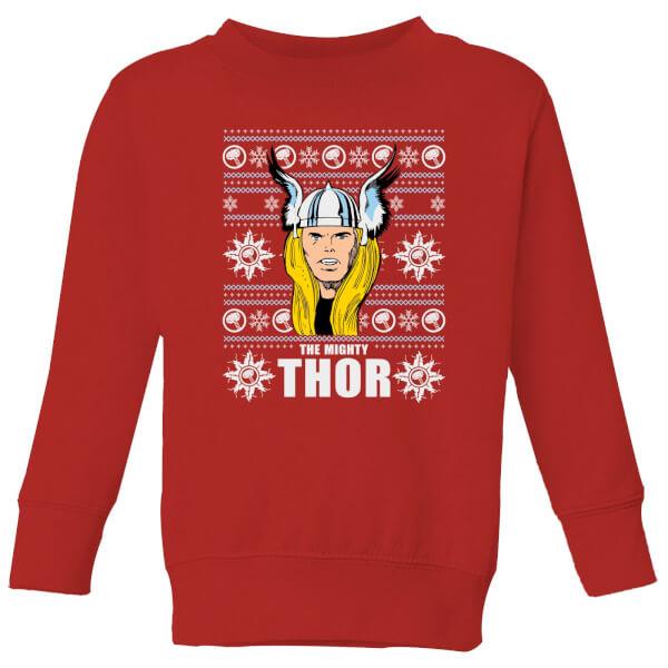 Marvel Thor Face Kids' Christmas Sweatshirt - Red - 11-12 ans - Rouge chez Zavvi FR image 5059478647748