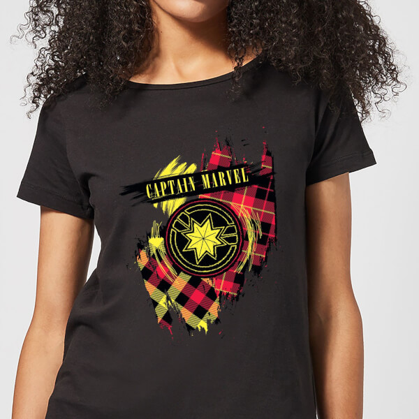 Captain Marvel Tartan Patch Women's T-Shirt - Black - XXL - Noir chez Zavvi FR image 5059478751759