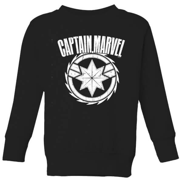 Captain Marvel Logo Kids' Sweatshirt - Black - 11-12 ans - Noir chez Zavvi FR image 5059478755894