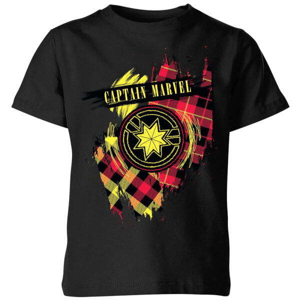 Captain Marvel Tartan Patch Kids' T-Shirt - Black - 11-12 ans - Noir chez Zavvi FR image 5059478756891