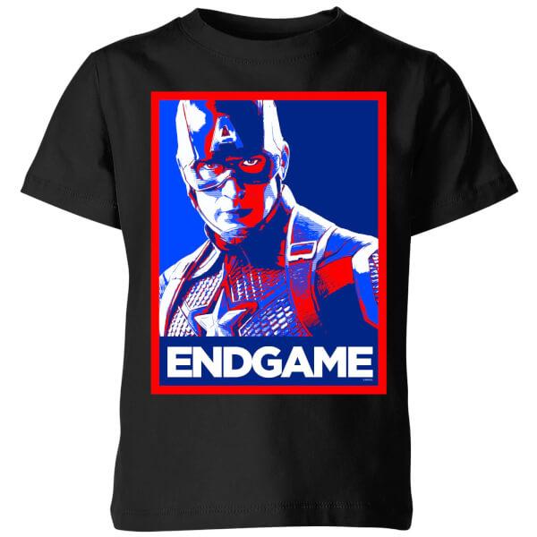 Avengers Endgame Captain America Poster Kids' T-Shirt - Black - 11-12 ans - Noir chez Zavvi FR image 5059478970556