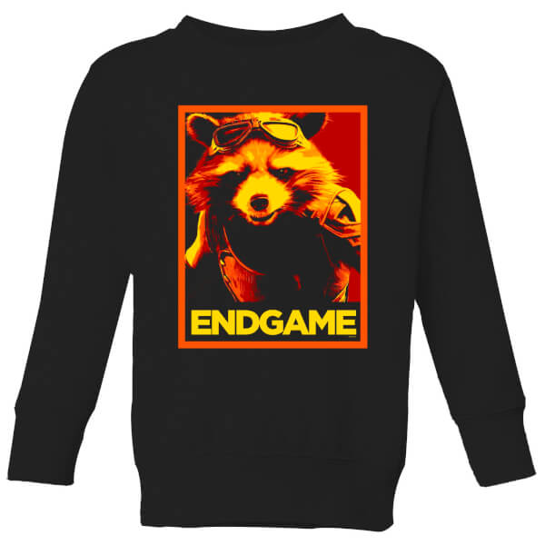 Avengers Endgame Rocket Poster Kids' Sweatshirt - Black - 11-12 ans - Noir chez Zavvi FR image 5059478973106
