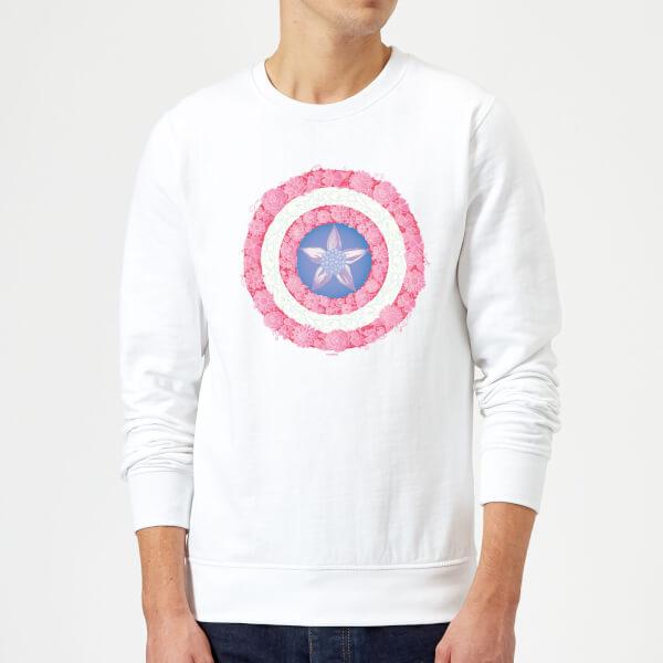 Marvel Captain America Flower Shield Sweatshirt - White - XXL - Blanc chez Zavvi FR image 5059479192896